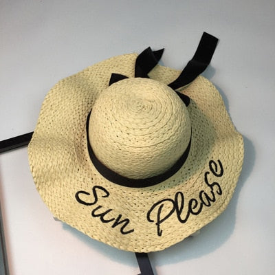 Women's Beautiful Letter Embroidery Wide Brimmed Panama Sun Hat-Sun Hats-Junaizo.com