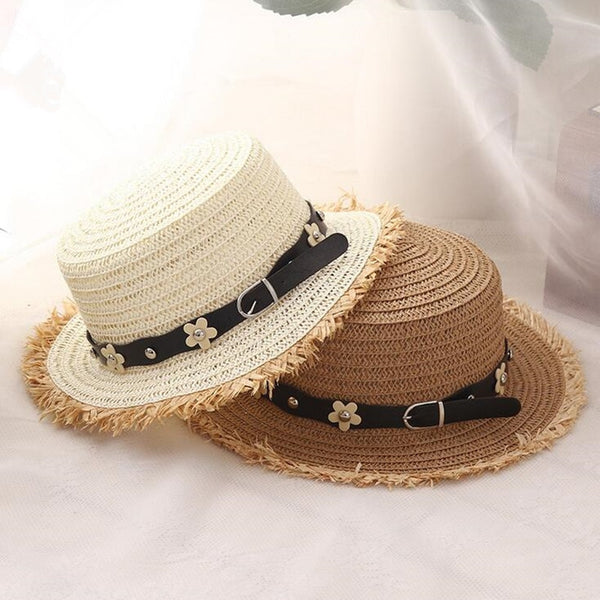 Women's Unique Design Flat Top Straw Boater Wide Brim Sun Hat-Sun Hats-Junaizo.com