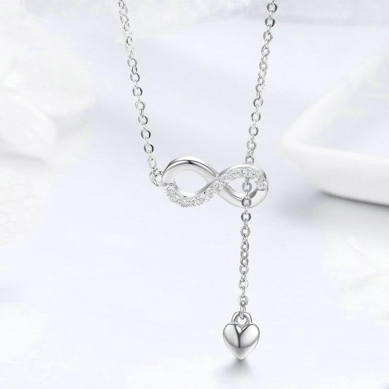 Women's 925 Sterling Silver Infinity Forever Love Chain Pendant Necklace-Pendant Necklaces-Junaizo.com