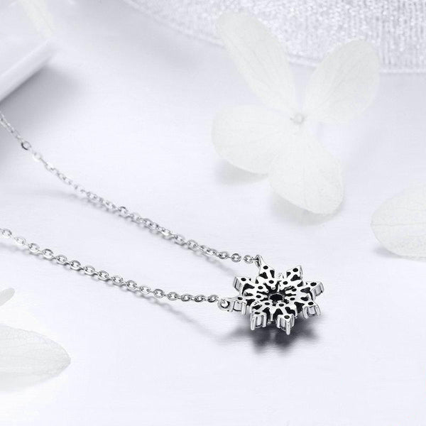 Women's 925 Sterling Silver Luminous CZ Snowflake Pendant Necklace-Pendant Necklaces-Junaizo.com