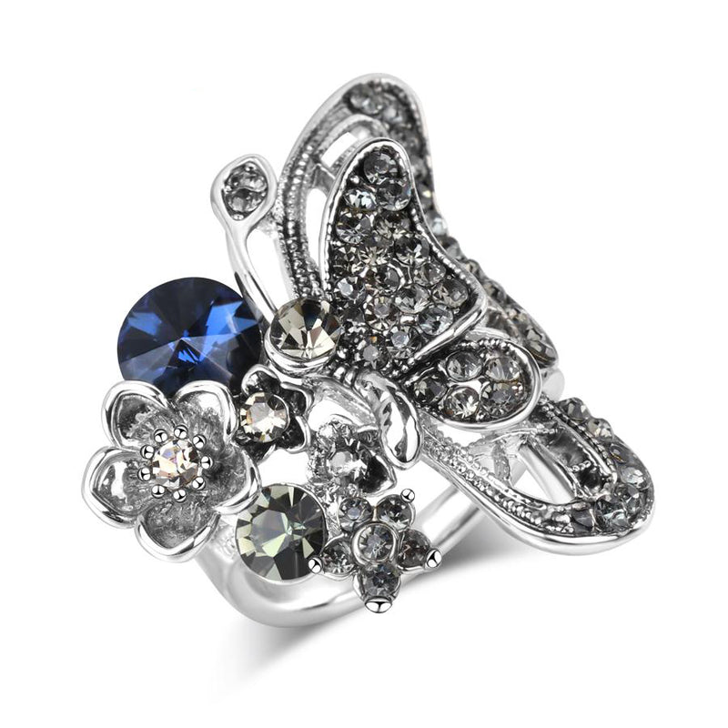 Women's New Big Butterfly Antique Silver Mosaic Blue Crystal Ring-Vintage Rings-Junaizo.com