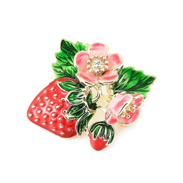 Unisex Trending Red Strawberry Fruit Rhinestone Enamel Brooch Pin-Plant Brooches-Junaizo.com