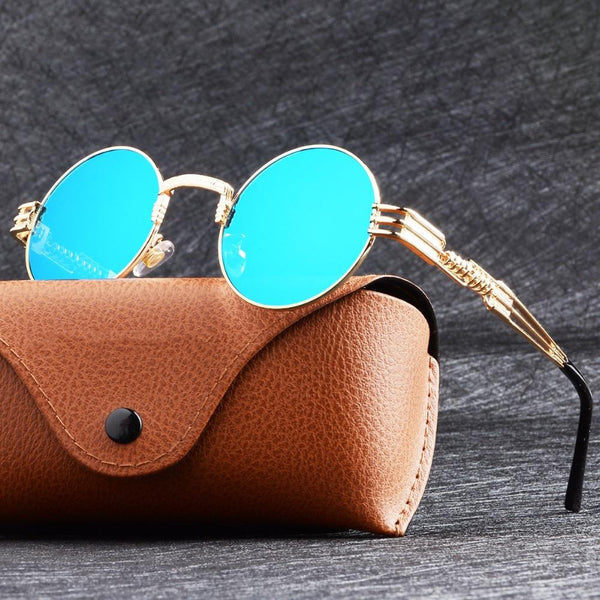 Unisex Stylish Round Shape Coating Mirrored Steampunk Sunglasses-Steampunk Sunglasses-Junaizo.com