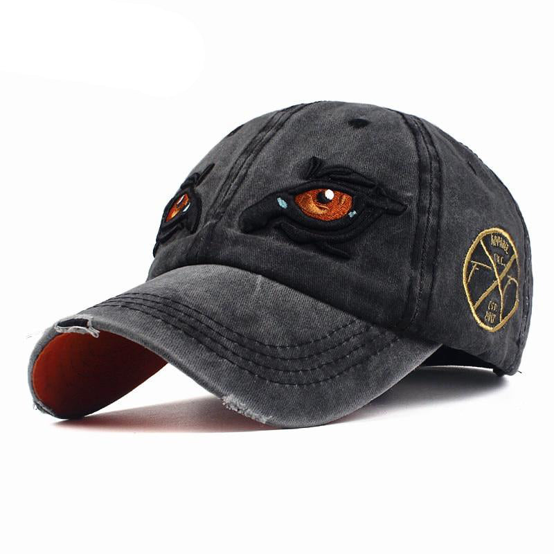 Unisex New Washed Cotton Eye Embroidery Casquette Baseball Cap-Baseball Caps-Junaizo.com