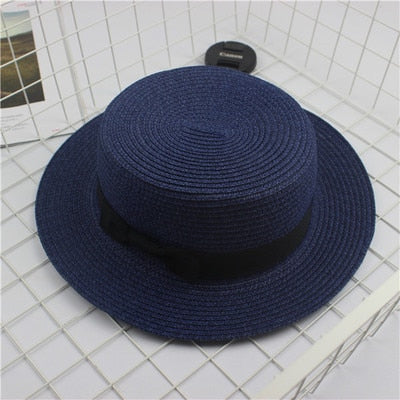 Women's Casual Fashion Bow Grirdle Handmade Wide Brim Sun Hat-Sun Hats-Junaizo.com