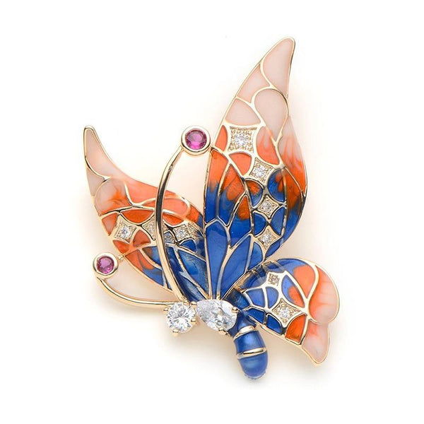 Unisex Rhinestone Purple Blue Color Butterfly Insect Brooch Pin-Animal Brooches-Junaizo.com