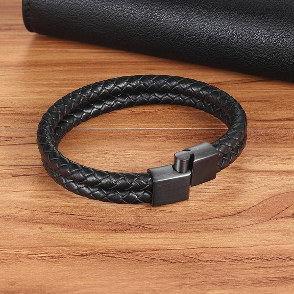 Men's Genuine Leather Double Layer Snake Chain Charm Bracelet-Men's Bracelets-Junaizo.com