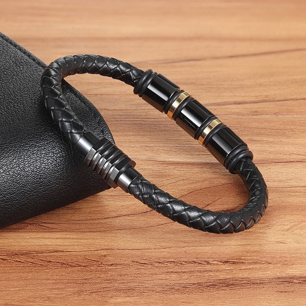 Men's New Snake Chain Magnetic Buckle Genuine Leather Bracelet-Men's Bracelets-Junaizo.com