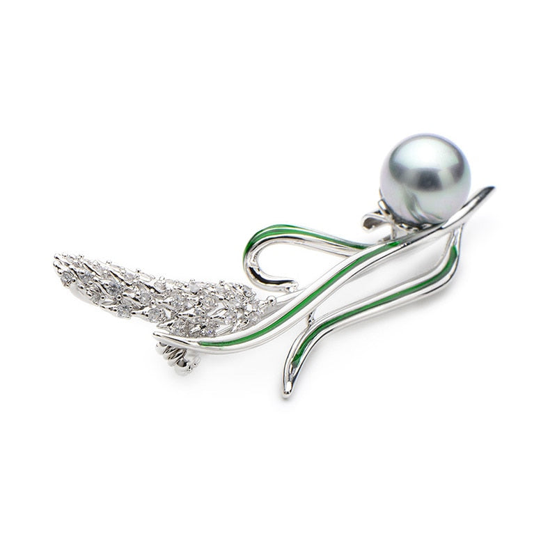Unisex Simulated Pearl Gold And Silver Rhinestone Wheat Brooch Pin-Plant Brooches-Junaizo.com