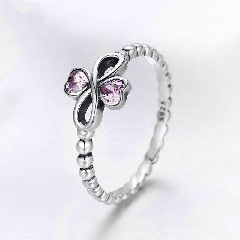 Women's 925 Sterling Silver Infinity with Heart Luminous Ring-Silver Rings-Junaizo.com