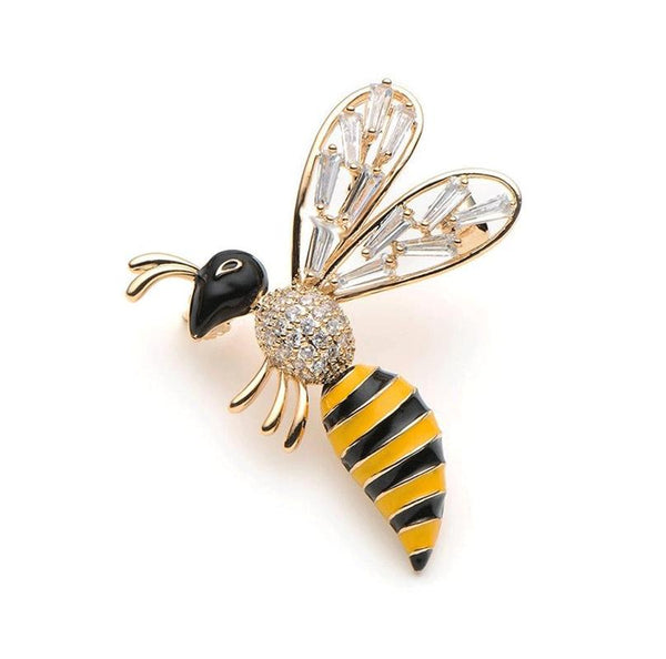 Unisex Trending Crystal Yellow Bee Insect Rhinestone Brooch Pin-Animal Brooches-Junaizo.com