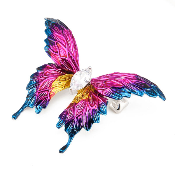Unisex New Luxury Purple Crystal Butterfly Party Banquet Brooch Pin-Animal Brooches-Junaizo.com
