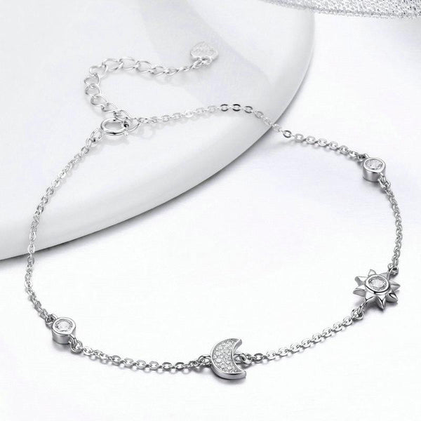 Women's 925 Sterling Silver Star And Moon Clasp CZ Chain Bracelet-Chain Bracelets-Junaizo.com