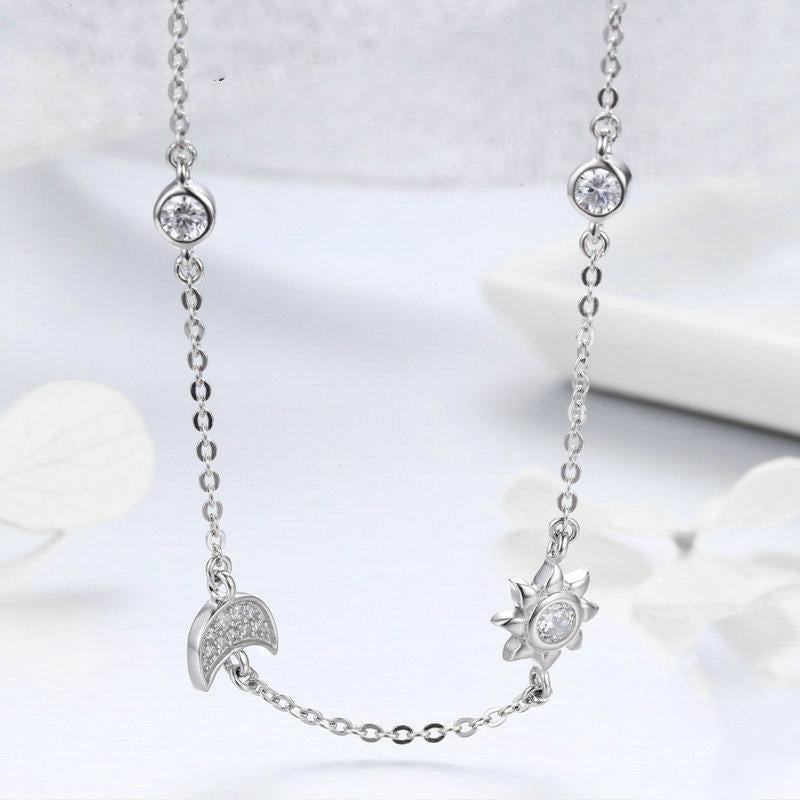 Women's 925 Sterling Silver Sparkling Moon Star Pendant Necklace-Pendant Necklaces-Junaizo.com