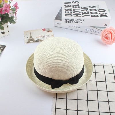 Parent Child Cute Bow Tie Hand Made Straw Wave Wide Brim Sun Hat-Sun Hats-Junaizo.com