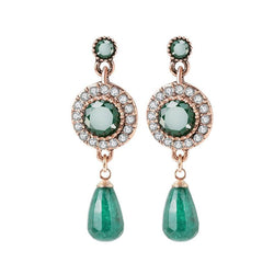 Women's Green Natural Stone Antique Gold Water Drop Earrings-Vintage Earrings-Junaizo.com