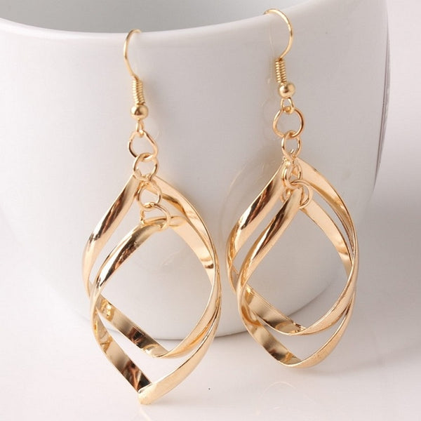 Women's Hollow Rhombus Gold Silver Color Leaf Drop Earrings-Boho Earrings-Junaizo.com