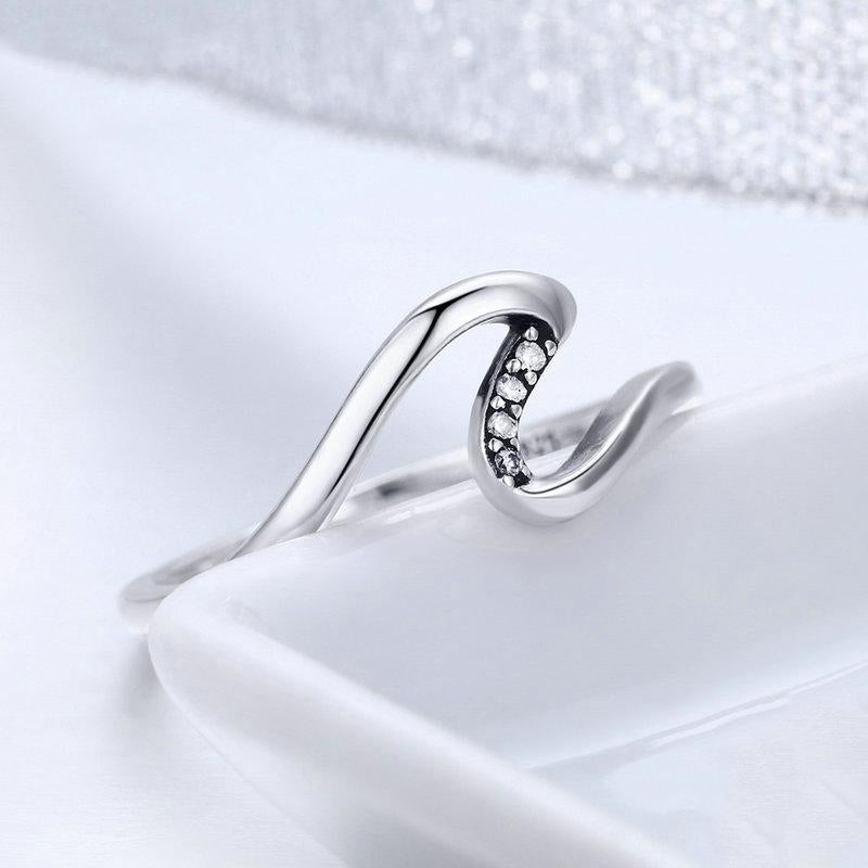 Women's 925 Sterling Silver Trendy Geometric Wave Finger Ring-Silver Rings-Junaizo.com