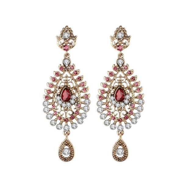 Women's Vintage White Rhinestone Flower Pink Stone Drop Earrings-Vintage Earrings-Junaizo.com