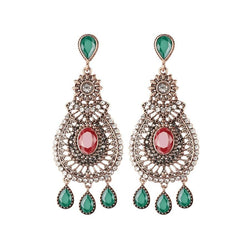 Women's Luxury Vintage Style Super Big Red Crystal Drop Earrings-Vintage Earrings-Junaizo.com