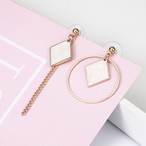 Women's Elegant Irregular Geometric Circle Shaped Drop Earrings-Boho Earrings-Junaizo.com