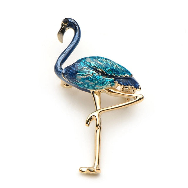 Unisex New Rhinestone Alloy Red Blue Metal Enamel Bird Brooch Pin-Animal Brooches-Junaizo.com