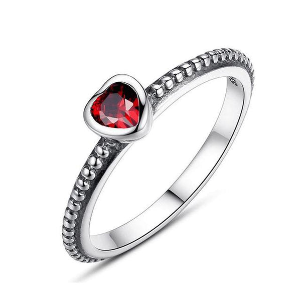 Women's New Authentic 925 Sterling Silver Ring Love Heart Ring-Silver Rings-Junaizo.com