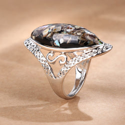 Women's New Luxury Colorful Shells Silver Color Oval Vintage Ring-Vintage Rings-Junaizo.com