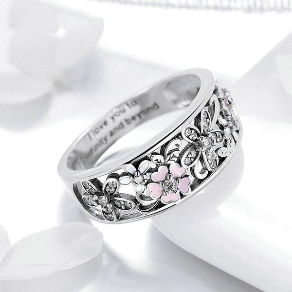 Women's 925 Sterling Silver Daisy Flower And Infinity Love Pave Ring-Silver Rings-Junaizo.com