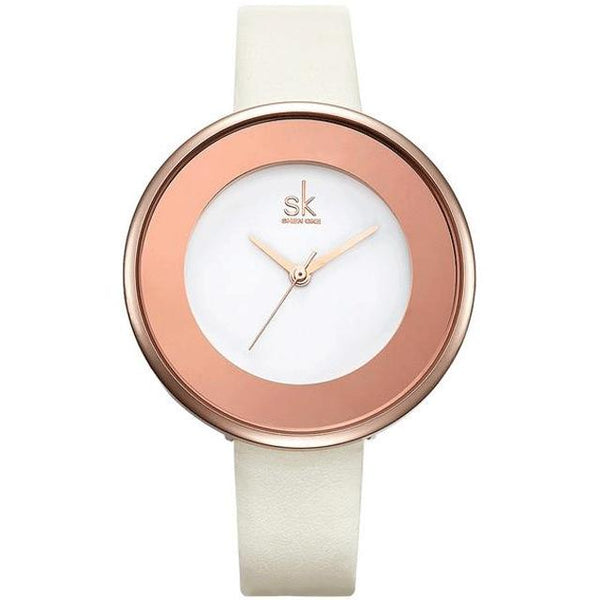 Women's Elegant Brand Designer Leather Band Quartz Wristwatch-Women's Quartz Watches-Junaizo.com