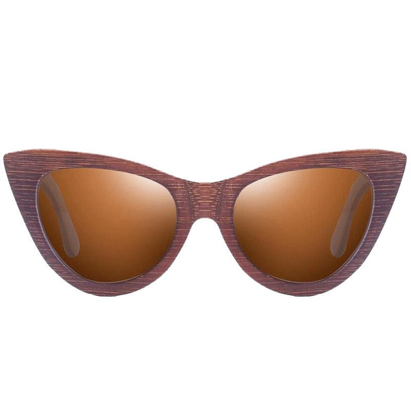 Women's Bamboo Frame UV400 Protection Polarized Sunglasses-Wooden Glasses-Junaizo.com