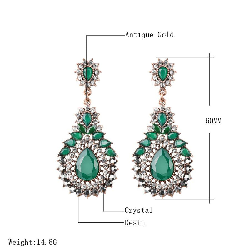 Women's Bohemian Style Green Crystal Flower Ethnic Drop Earring-Vintage Earrings-Junaizo.com