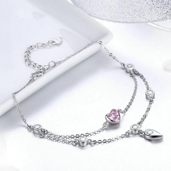 Women's 925 Sterling Silver Pink Sweet Heart Double Layer Bracelet-Chain Bracelets-Junaizo.com