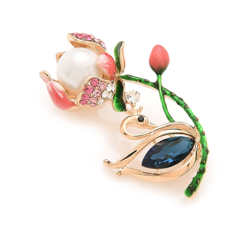 Unisex Ocean Blue Crystal Swan Simulated Pearl Flower Brooch Pin-Plant Brooches-Junaizo.com