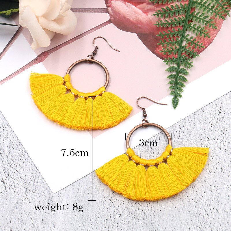 Women's Bohemian Hyperbolic Wool Tassel Colorful Drop earrings-Boho Earrings-Junaizo.com
