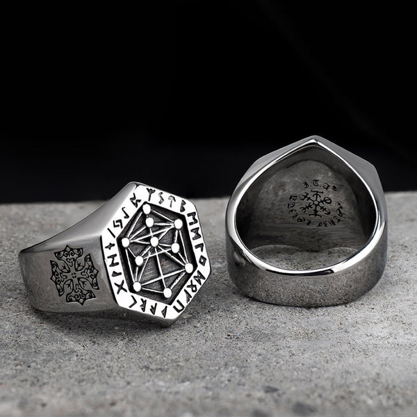 Men's Vintage Nordic Mythology Viking Rune Stainless Steel Ring-Men's Rings-Junaizo.com