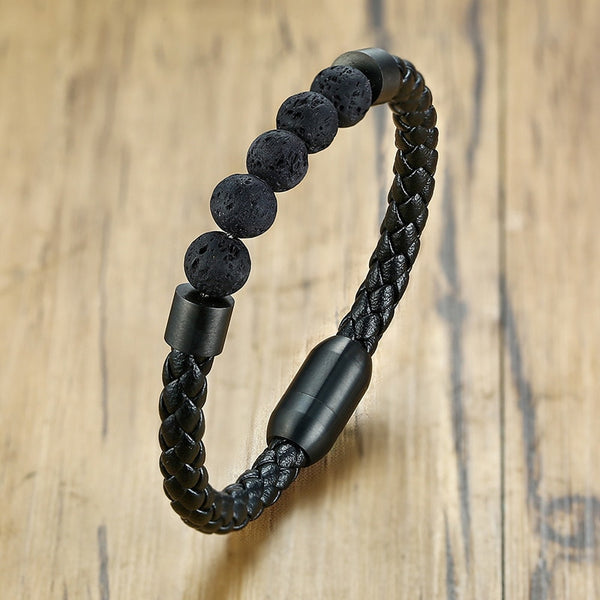 Men's Genuine Leather Punk Natural Stone Lava Beads Bracelets-Men's Bracelets-Junaizo.com