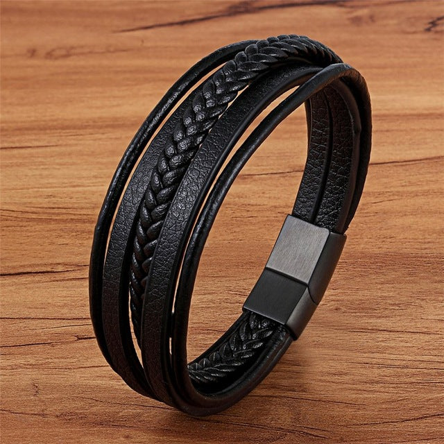 Men's Handmade Multi Layer Braided Genuine Leather Bracelet-Men's Bracelets-Junaizo.com