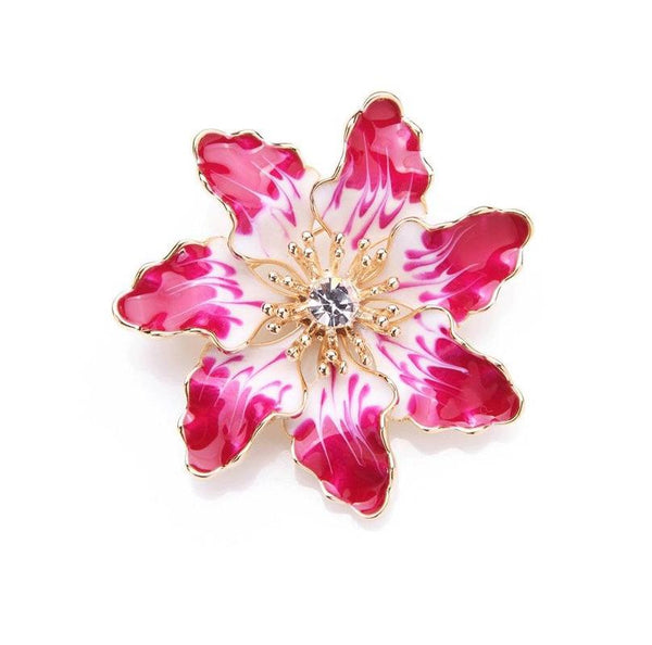 Unisex Elegant Alloy Pink Purple Flowers Banquet Plant Brooch Pin-Plant Brooches-Junaizo.com
