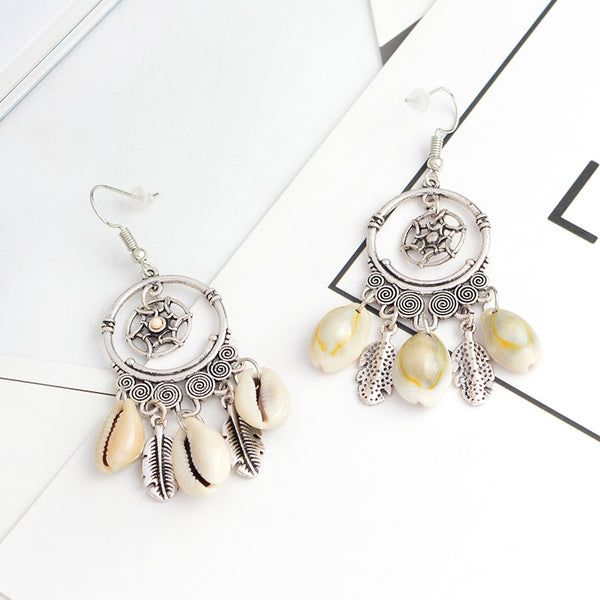 Women's Dreamcatcher Silver Feather Shell Tassel Dangle Earrings-Boho Earrings-Junaizo.com