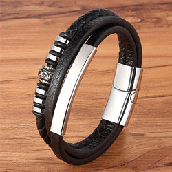 Men's Geometric Shape Stainless Steel Genuine Leather Bracelet-Men's Bracelets-Junaizo.com