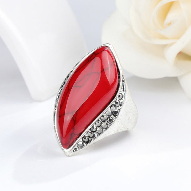 Women's Unique Natural Stone Antique Silver Plated Vintage Ring-Vintage Rings-Junaizo.com