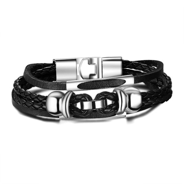 Men's Vintage Playing Cards Charm Multilayer Leather Bracelet-Men's Bracelets-Junaizo.com