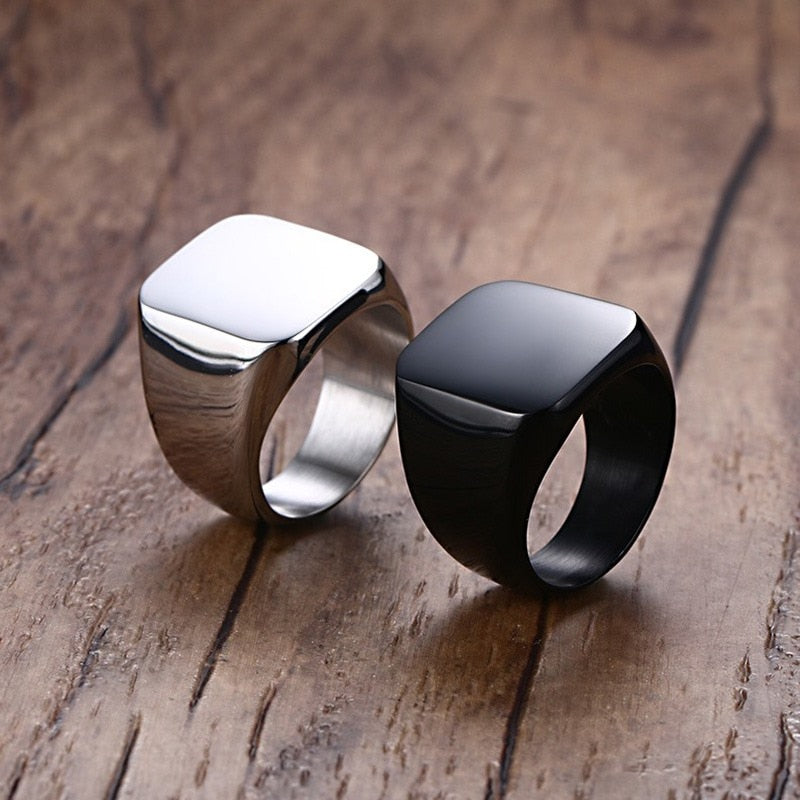 Men's Antique Punk Style Stainless Steel Bezel Setting Signet Ring-Men's Rings-Junaizo.com