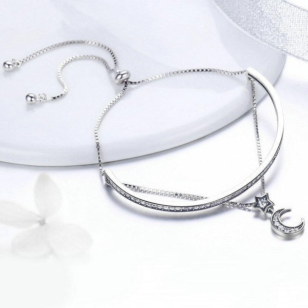 Women's 925 Sterling Silver Double Layers Moon Clear CZ Bracelet-Chain Bracelets-Junaizo.com
