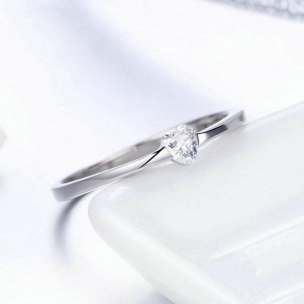Women's 925 Sterling Silver Luminous Finger Ring Simple Heart Ring-Silver Rings-Junaizo.com