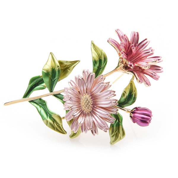 Unisex Beautiful Pink Daisy Metal Flower Bouquet Enamel Brooch Pin-Plant Brooches-Junaizo.com