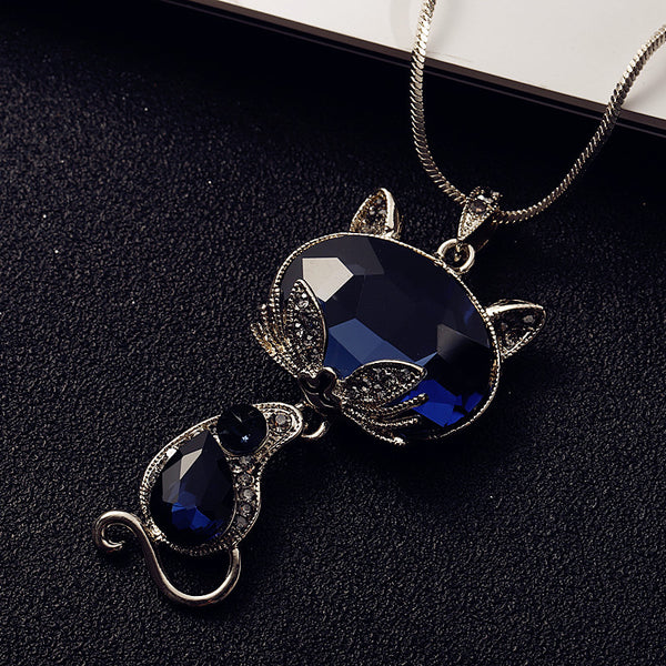 Women's New Fashion Blue Crystal Fox Cat Long Pendant Necklace-Fashion Necklaces-Junaizo.com