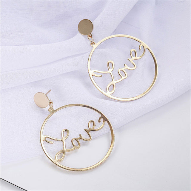 Women's Bohemian Style Exaggerated Big Circle Drop Earrings-Boho Earrings-Junaizo.com