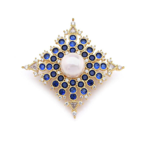 Unisex Luxury Royal Palace Style Blue Crystal Flower Brooch Pin-Plant Brooches-Junaizo.com